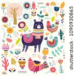 big colorful vector set with... | Shutterstock .eps vector #1090930865