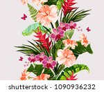 seamless vector floral summer... | Shutterstock .eps vector #1090936232