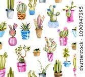 watercolor cactuses in a pots... | Shutterstock . vector #1090947395
