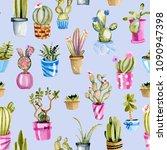 watercolor cactuses in a pots... | Shutterstock . vector #1090947398