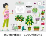 gardener girl and a big... | Shutterstock .eps vector #1090955048