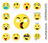 set of 13 simple editable icons ... | Shutterstock .eps vector #1090964192