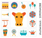 set of 13 simple editable icons ...   Shutterstock .eps vector #1090964288