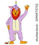 lion in the unicorn's pajamas ... | Shutterstock .eps vector #1090973732
