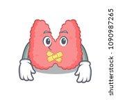 silent thyroid mascot cartoon... | Shutterstock .eps vector #1090987265