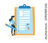 businesswoman spend business... | Shutterstock .eps vector #1090989146