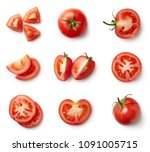 set of fresh whole and sliced... | Shutterstock . vector #1091005715