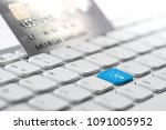 credit card payment for online... | Shutterstock . vector #1091005952