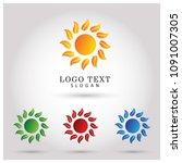 sun  leaf   flower logo. symbol ...   Shutterstock .eps vector #1091007305