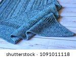 knitted openwork scarf | Shutterstock . vector #1091011118
