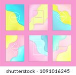 set of 6 abstract and bright... | Shutterstock .eps vector #1091016245