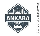 ankara turkey travel stamp icon ... | Shutterstock .eps vector #1091017532