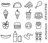 fast food icons. vector... | Shutterstock .eps vector #1091019548