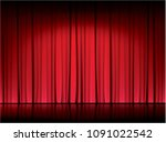 red curtain in the theater ... | Shutterstock .eps vector #1091022542