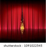 Red Curtain In The Theater ...