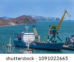 container vessel unloaded in... | Shutterstock . vector #1091022665