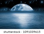 blue moon  blue water... | Shutterstock . vector #1091039615