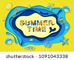 summer typography design with... | Shutterstock . vector #1091043338