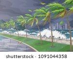 beginning of storm in ocean ... | Shutterstock .eps vector #1091044358