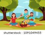 family on picnic in park.... | Shutterstock .eps vector #1091049455