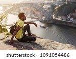 traveler man enjoying city view ... | Shutterstock . vector #1091054486