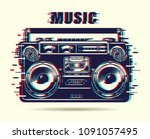 music tape recorder with glitch ... | Shutterstock .eps vector #1091057495