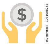 two hands holding dollar... | Shutterstock .eps vector #1091058266