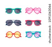 modern sunglasses collection in ... | Shutterstock .eps vector #1091063066