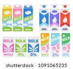 milk cartons icons set. dairy... | Shutterstock .eps vector #1091065235