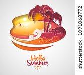 hello summer. landscape  ... | Shutterstock .eps vector #1091068772