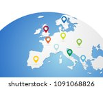 europe vector map on world... | Shutterstock .eps vector #1091068826