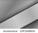 brushed silver plates on black... | Shutterstock . vector #1091068856