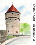 watercolor hand drawn... | Shutterstock . vector #1091070506