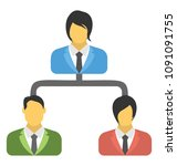 flat icon design of employees... | Shutterstock .eps vector #1091091755