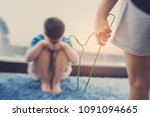 mother hit her kid  children... | Shutterstock . vector #1091094665