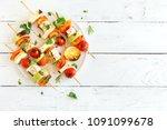 vegetarian grilling. vegetarian ... | Shutterstock . vector #1091099678