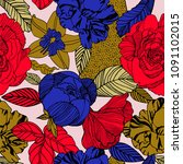 floral pattern in doodle style... | Shutterstock .eps vector #1091102015