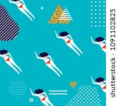 summer pattern design with... | Shutterstock .eps vector #1091102825