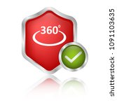 360 icon and protective shield | Shutterstock .eps vector #1091103635