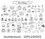 tea time doodle elements... | Shutterstock .eps vector #1091104352