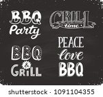 hand drawn lettering about bbq... | Shutterstock .eps vector #1091104355