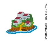 fantastic island with stone...   Shutterstock .eps vector #1091110742