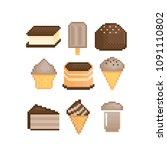 sweets and desserts with... | Shutterstock .eps vector #1091110802