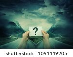 hands holding a sheet with... | Shutterstock . vector #1091119205