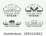 set of vintage butchery meat ... | Shutterstock .eps vector #1091121812
