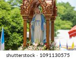 statue our lady of grace virgin ... | Shutterstock . vector #1091130575