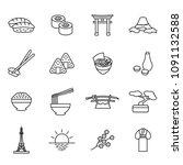 japanese thin line icon set.... | Shutterstock .eps vector #1091132588