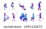 modern isometric people set... | Shutterstock .eps vector #1091132672