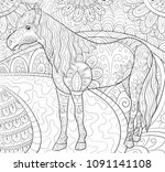 adult coloring book page a cute ... | Shutterstock .eps vector #1091141108
