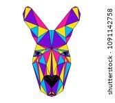 abstract polygonal kangaroo... | Shutterstock . vector #1091142758